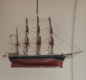 This ship hangs in a church in Solvang.